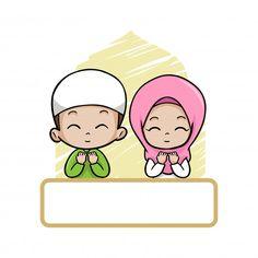 Anak-anak muslim yang imut, anak-anak, b. Eid Crafts, Ramadan Crafts, Kids Vector, Vector Free, Ramadan Images, Muslim Pictures, Disney Frames, Quran Book, Kids Background