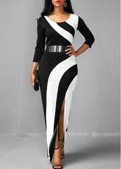 Side Slit Color Block Round Neck Maxi Dress   modlily.com - USD $33.69