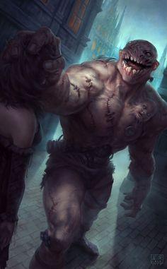 Golem of Vengeance by Justine Cruz - Mega Dark Things Monster Art, Monster Concept Art, Fantasy Monster, Fantasy Beasts, Fantasy Rpg, Dark Fantasy Art, Fantasy Artwork, Horror Monsters, Dnd Monsters