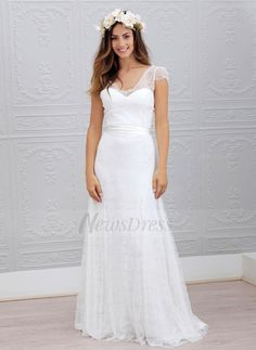 A-Line/Princess V-neck Sweep Train Sash Chiffon Lace Covered Button Sleeves Short Sleeves Hall Garden / Outdoor General Spring Fall Ivory White Wedding Dress