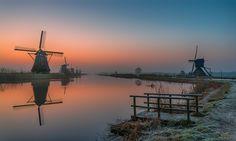 "A cold but wonderful sunrise at Kinderdijk March 2016. Best viewed on black (Press ""M"")  Facebook : https://www.facebook.com/hermanvdberge.photography Instagram : https://www.instagram.com/herman_van_den_berge/"
