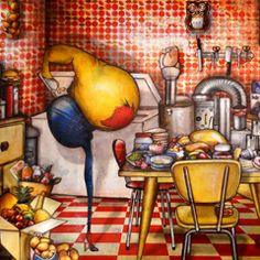 Oeuvre: La machine à faire des conserves de Jeremie Baldocchi Artiste Peintre Contemporain Figuratif Français (80 x 120 cm)