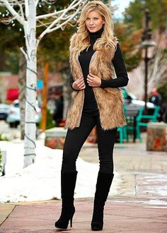 LONG FAUX FUR VEST, ESSENTIAL TURTLENECK, COLOR SKINNY JEAN, FRONT RUCHED BOOT