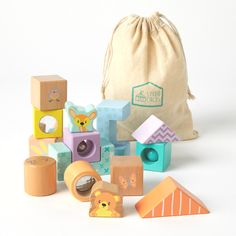 👶 Wooden blocks, so your little one can develop their skills 👶  A great price point for baby showers too 🎁.  The sensory blocks, which include a bell, rattle, mirror, and kaleidoscope, are fantastic for developing toddler's sense of touch, sound and sight, and the building up of the blocks to create a little world is fantastic for developing imagination and hand-eye coordination.       #loveL&L #lottieandlou #babygifts #babydiscovery #babydevelopment #babytoys #woodentoys Sensory Blocks, Wooden Baby Toys, Baby Development, Price Point, Wooden Blocks, Educational Toys, Baby Showers, Discovery, Imagination