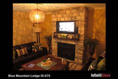 InfinitiStone® Mountain Ledge Stone 075 - Prefabricated corners available. Stone Cladding, Stone Walls, Corner, Mountain, Interior, Projects, House, Home Decor, Log Projects