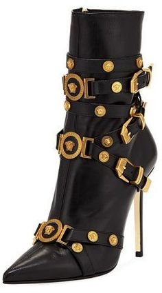 Versace Collection Tribute Medallion Buckle Bootie - Versace Collection leather bootie with golden medallion studs. Multiple buckle straps at vamp High Heel Boots, Bootie Boots, Heeled Boots, Versace Boots, Stiletto Heels, Shoes Heels, Vintage Mode, Vintage Shoes, Killer Heels