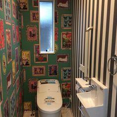 Bathroom/ストライプ/ナタリーレテ/リクシルのトイレ/ナタリーレテの壁紙のインテリア実例 - 2017-04-28 04:08:03 Toilet, The Originals, Interior, House, Wallpaper Ideas, Bathrooms, Design, Decoration, Decor