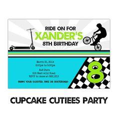 Boys BMX BiKe N Scooter Love  Full Invite Ticket TIcket  Digital Custom Invitation Card  PRINTABLE