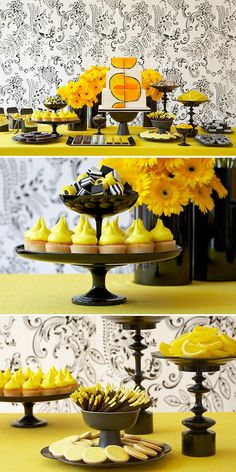 black and yellow party table decor
