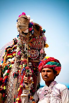 Pushkar Camel Festival in Rajasthan, India. An enormous camel fair with music, events, exhibitions, and cultural market stalls.