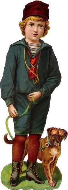 Oblaten Glanzbild scrap die cut chromo Kind child XL 24cm Hund   Raphael Tuck ?