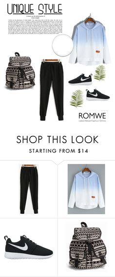 """""""Black Drawstring Waist Pants"""" by zerina-okanovic ❤ liked on Polyvore featuring NIKE, NLY Accessories, Pier 1 Imports and romwe"""