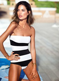 Lily Aldridge wears a VS black & white one piece swimsuit