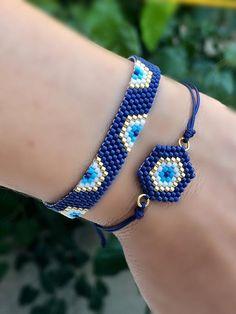 Heart Jewelry, Beaded Jewelry, Handmade Jewelry, Beaded Bracelets, Evil Eye Bracelet, Bracelet Set, Unique Earrings, Women's Earrings, Bracelets Bleus