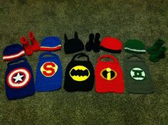 Crochet Superhero Cape Boots & Hat cowl by SuperWomenCrafts