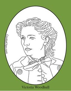Coloring Pages Zip File. Cordial Clips presents a black and white line clip art picture portrait of  Victoria Woodhull zip file contains 2 png files with transparent Help your students remember put face to the facts