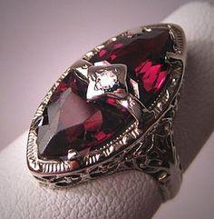 Antique Garnet Diamond Ring Vintage    Garnet is the Birthstone for January.  http://www.thediamondconsignmentstore.com