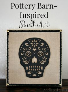 Create a simple and cheap knockoff version of Pottery Barn's canvas skull art with only a handful of supplies.