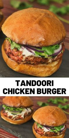 Who knew tandoori chicken tastes just as good on a bun? Tandoori Chicken Burger Ingredients For the burger meat: 1 … Indian Food Recipes, Vegetarian Recipes, Cooking Recipes, Healthy Recipes, Cooking Chef, Pollo Tandoori, Tandoori Chicken, Chicken Gyros, Rotisserie Chicken