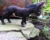 Needle Felted Grand Noir Donkey - Poseable Soft Wool Sculpture of Donkey