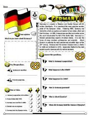 RC Series_Level Edition 07 Germany (Fully Editable + Key) - ESL worksheet by Vocabulary Worksheets, Worksheets For Kids, Spain Country, Europe Continent, World Thinking Day, Comprehension Questions, Unit Studies, Let, Teaching English