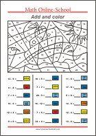 Add and color - Math worksheets Grade Math Coloring Worksheets, 3rd Grade Math Worksheets, Free Printable Math Worksheets, 1st Grade Math, 1st Grade Crafts, Addition Worksheets, Number Worksheets, Kindergarten Math, Free Printables