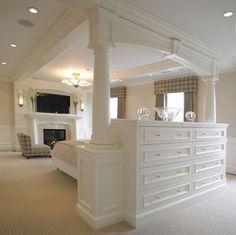 """""""dresser behind bed"""" - Google Search Tv In Bedroom, Trendy Bedroom, Home Decor Bedroom, Bedroom Ideas, Bedroom Table, Cosy Bedroom, Bedroom Wardrobe, Bedroom Modern, Large Bedroom"""