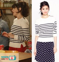 Jess's white pullover with navy stripes on New Girl.  Outfit details: http://wornontv.net/8384/
