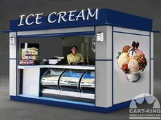 The booth kiosk is an excellent way to generate revenue in a public location. please call us today at Cart-king so we can help you with your needs. My Coffee Shop, Coffee Shop Design, Container Coffee Shop, Coffee Shop Branding, Food Kiosk, Ice Cream Design, Ice Cream Cart, Kiosk Design, Mobile Boutique