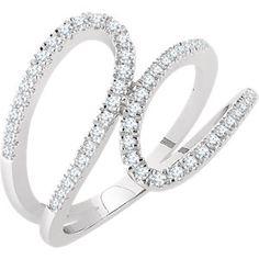14K White 1/3 CTW Diamond Freeform Ring #MyStullerStyle300 #MyStullerStyle page 300