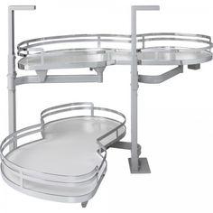 "15"" Blind Corner Swing Out, Left Handed Unit. Minimum Opening 16-1/2"" for Frameless or 15"" for Face Frame Cabinets. White Laminated Non-slip Shelves with Chrome Edging"