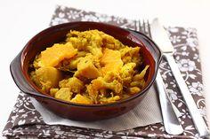 Narancsos-karfiolos szabdzsi (indiai zöldséges egytálétel)