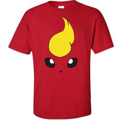 Flareon Pokemon Go Unisex Cherry Red T-Shirt (35 CAD) ❤ liked on Polyvore featuring tops, t-shirts, red tee, unisex t shirts, red top, unisex tees and red t shirt