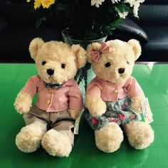 (A pair) 30CM Kawaii Teddy Bear Plush Toy Stuffed Couple Bears Soft Kids Toys Baby Huggable Dolls Children Girls New Year Gifts