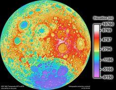 Mapa topográfico de la Luna