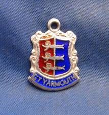Vintage Sterling Silver & Enamel Travel Shield Charm GT YARMOUTH England