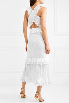 Everything She Wants Tiered Ruffled Broderie Anglaise Cotton Dress - White Alice McCall QtkaMRC