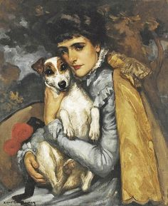 """Jeanne with her Terrier by Rupert Bunny Australian; lived in Paris - He was a """"sumptuous colourist and splendidly erudite painter of ideal themes (wiki - Australian Painters, Australian Artists, Smooth Fox Terriers, Digital Museum, Collaborative Art, Illustration, Vintage Dog, Dog Paintings, Aboriginal Art"""