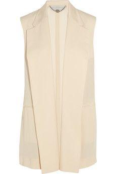 Stella McCartney Norma sleeveless crepe jacket | NET-A-PORTER. Pair with skinny metallic belt and balck cropped pants.