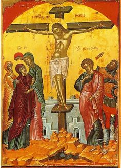 Orthodox icon of the Crucifixion of our Lord Jesus Christ, by Theophanis the Cretan (1535), Stavronikita Monastery, Mount Athos