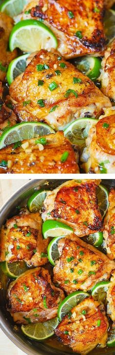 Pan-Roasted Honey Lime Chicken Thighs – easy, delicious, super-flavorful chicken! Use GF soy sauce
