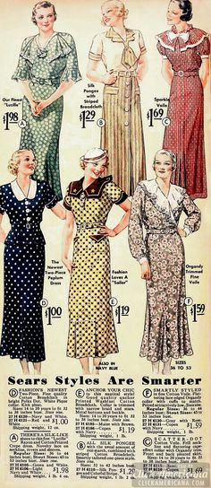 Daywear and sportswear ensembles, mid-1930s. #vintage #1930s #dresses