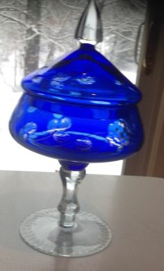 "COBALT BLUE CRYSTAL, MADE IN POLAND, 13"" COVERED COMPOTE/DISH ON CLEAR PEDESTAL"