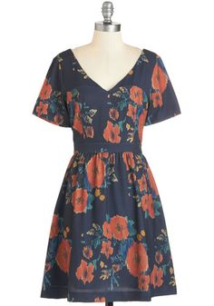 They Call it Poppy Love Dress by Pink Martini - Black, Floral, A-line, Short Sleeves, Woven, Multi, V Neck, Mid-length