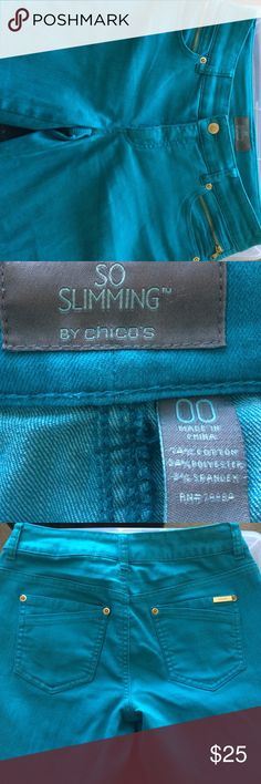 Chico's So Slimming turquoise blue 00 jeans Only worn a couple of times. Little signs of wear. Inseam is almost 29 but has been worn rolled up. Zipper details on front pocket. Size is about equal to size 6. Chico's Jeans Straight Leg