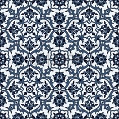 Arabesque seamless pattern in blue and white in editable vector file