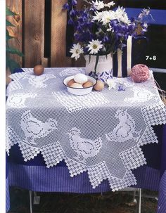 filet crochet patterns including this tablecloth with chickens
