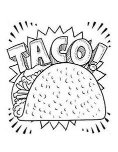 Dragons Love Tacos- Taco Coloring Page Food Coloring Pages, Coloring Sheets For Kids, Free Coloring, Coloring Books, Color Activities, Preschool Activities, Seasons Activities, Taco Drawing, Dragons Love Tacos Party