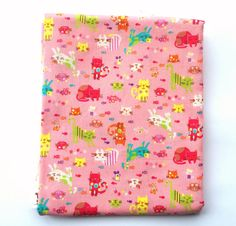 Cat Fabric  1/2 Yard  Half Yard  Pink Fabric  by TheCatStore