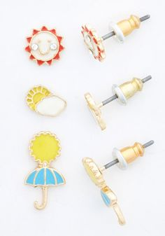 Sun Like it Hot Earrings Set. Totally bright, semi-sunny, or chance of sunshowers - this assortment of earrings has a stylish answer to all kinds of weather! #gold #prom #modcloth
